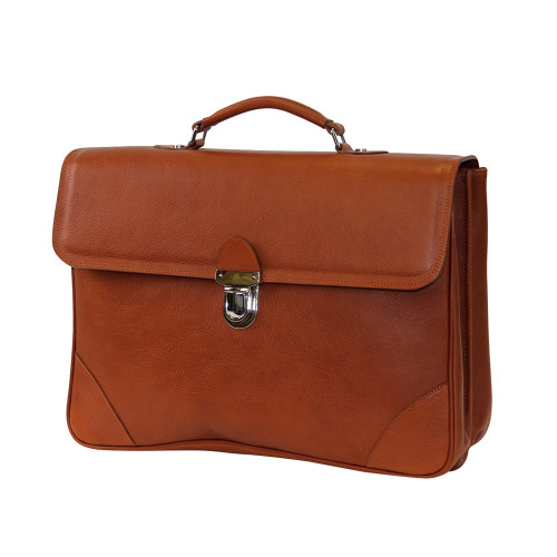 Terrida Italian Leather Flap Over Briefcase - Tan