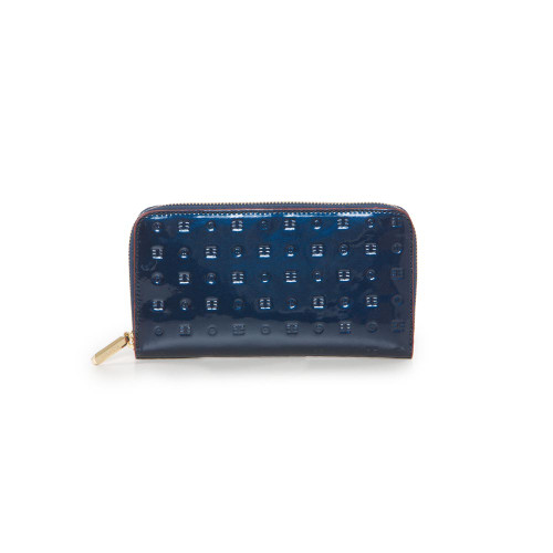 Arcadia Patent Leather Zip Purse - Blue