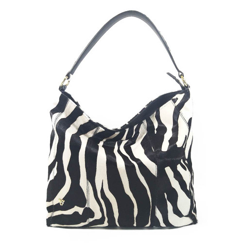 Ghibli Zebra Printed Leather Hobo Bucket Bag - Black and white