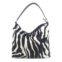 Ghibli Zebra Printed Leather Hobo Bucket Bag - Black and white