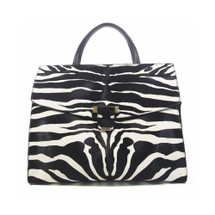Ghibli Leather Zebra Print Large Grab Bag - Black and White