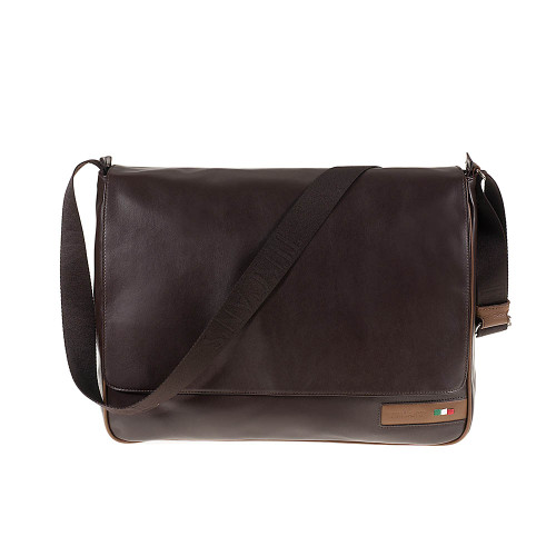 Tuscan's Vinci Luxury 2 Colour Leather Tablet Messenger Bag - Brown