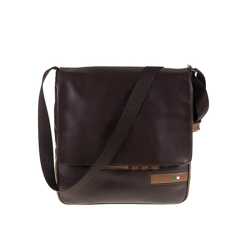 Tuscan's Arezzo Luxury 2 Colour Leather Messenger Bag - Brown