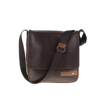Tuscan's Abetone Luxury 2 Colour Leather Tablet Messenger Bag - Brown