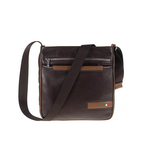 Tuscan's Aulla Luxury 2 Colour Leather Zip Top Messenger Bag - Brown