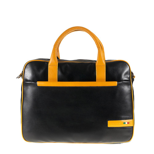 Tuscan's Porcari Lxury 2 Colour Leather Business Laptop Bag – Yellow