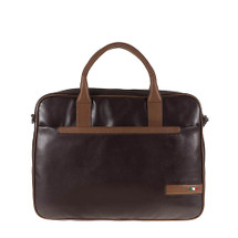 Tuscan's Porcari Lxury 2 Colour Leather Business Laptop Bag - Brown