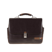Tuscan's Giannella Leather Flap Over Top Handle Briefcase - Brown