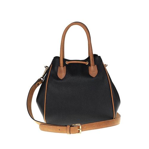 Tuscan's Empoli Italian Leather Drawstring Grab Bag - Black