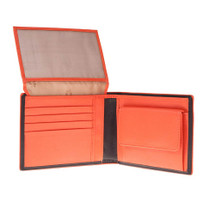 Tuscan's Leather Bi-Fold 10 CC ID Coin Wallet - Black Orange