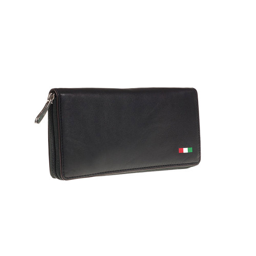 Tuscan's Leather Zip Around Coin Purse - Black Brown