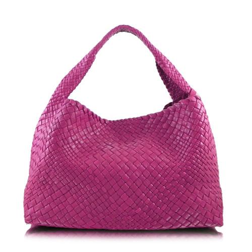 Ghibli Woven Leather Hobo Bucket Bag - Pink