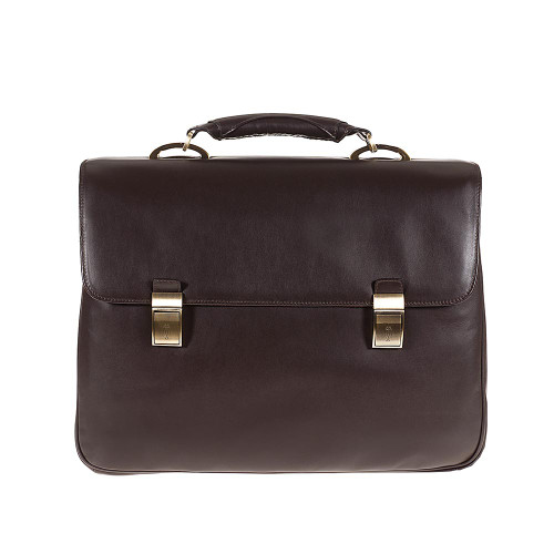 Tuscan's Luxury Leather 3 Compartment Classica Briefcase - Brown