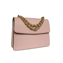 Stefano Turco Anna Leather Grab Chain Handbag - Pink