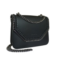 Stefano Turco Gigi Leather Chain Shoulder Bag - Black