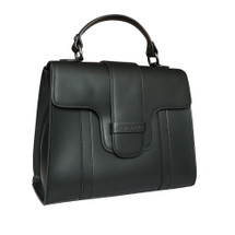Stefano Turco Diana Leather Grab Handbag - Black