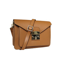 Stefano Turco Mimi Leather Satchel Shoulder Bag - Tan