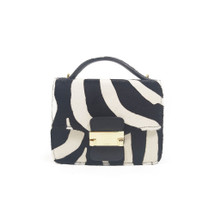 Ghibli Zebra Printed Leather Chain Grab Handbag - Black