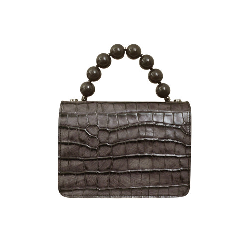 Roberta Gandolfi Italian Croc Print Leather Grab Handbag - Mink Grey