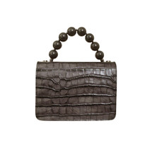 Roberta Gandolfi Italian Croc Print Leather Grab Handbag - Mink Grey