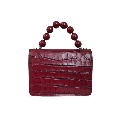 Roberta Gandolfi Italian Croc Print Leather Grab Handbag - Red