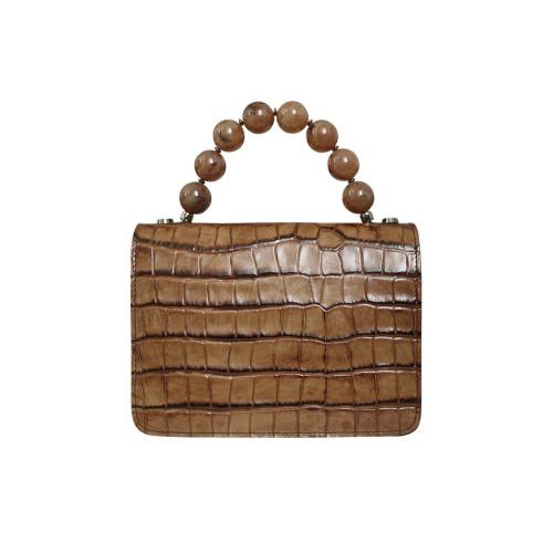 Roberta Gandolfi Italian Croc Print Leather Grab Handbag - Brown