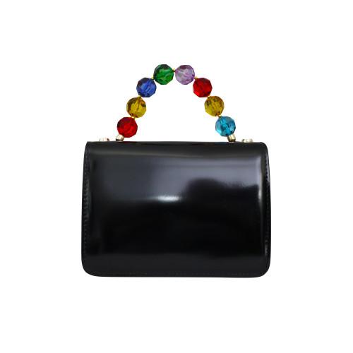 Roberta Gandolfi Crystal Italian Patent Leather Grab Handbag - Black Multi