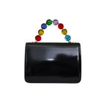 Roberta Gandolfi Crystal Italian Patent Leather Grab Handbag - Black Multi