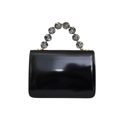 Roberta Gandolfi Crystal Italian Patent Leather Grab Handbag - Black