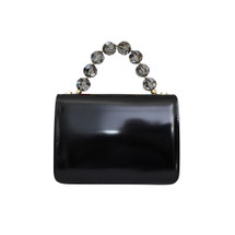 Roberta Gandolfi Crystal Italian Patent Leather Grab Handbag - Black