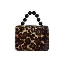 Roberta Gandolfi Crystal Italian Leopard Print Grab Handbag - Black