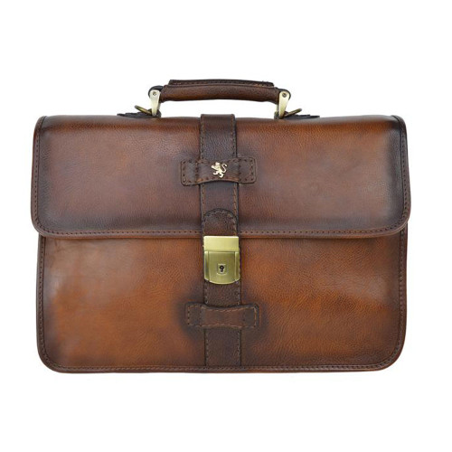 Pratesi Anghiari Aged Leather Briefcase - Brown