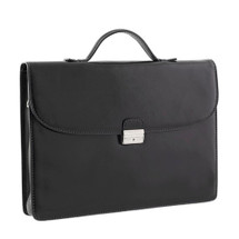 Chiarugi Italian Leather Slim Briefcase - Black