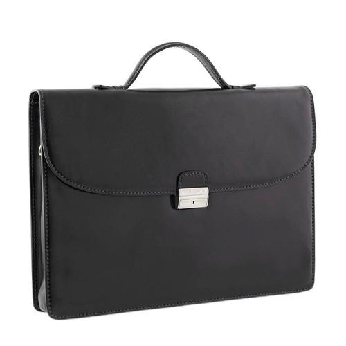 Chiarugi Italian Leather Slim Briefcase - Black
