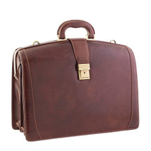 Chiarugi Italian Leather Briefcase - Brown