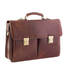 Chiarugi 2 Pocket Italian Leather Briefcase - Brown