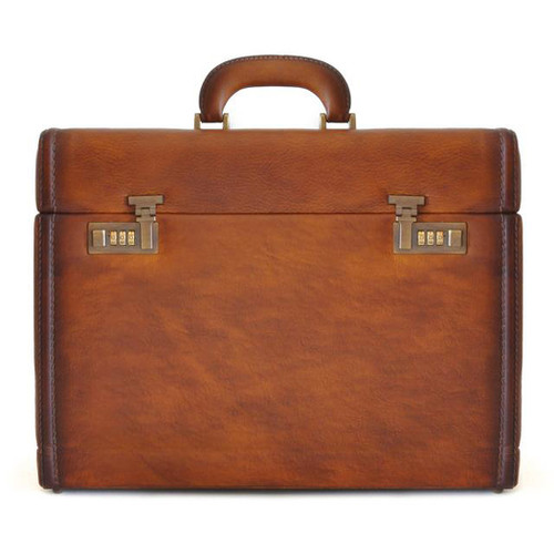 Pratesi Ghirlandaio Italian Aged Leather Attache Case - Brown