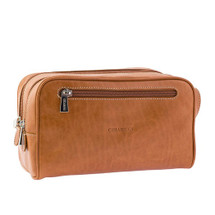 Chiarugi Italian Leather Toiletry Wash Bag - Tan