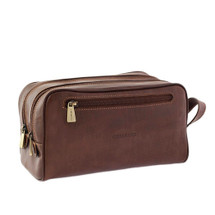 Chiarugi Italian Leather Toiletry Wash Bag - Brown