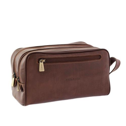 Chiarugi Italian Leather Toiletry Wash Bag - Brown
