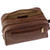 Chiarugi Italian Leather Toiletry Wash Bag - Brown 4