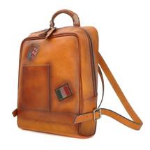 Pratesi Firenze Italian Leather Laptop Backpack - Tan