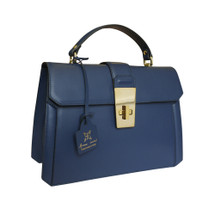 Anna Cecere Italian Leather Carina Grab Handbag - Blue