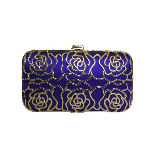 Anna Cecere Italian Designed Rosa Jewel Clutch Evening Bag - Blue