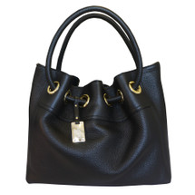 Carbotti Designer Italian Leather Hobo Handbag - Black