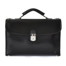 Pratesi Lecco Italian Radica Leather Briefcase - Black