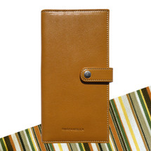 Toscanella Italian Leather Bi-Fold Wallet with Coin Compartment - Tan