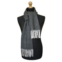 Maalbi Luxury Italian Virgin Wool Herringbone Scarf - Black