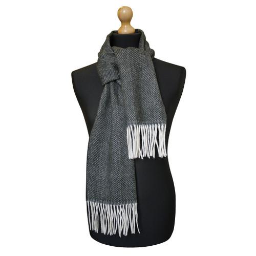 Maalbi Luxury Italian Virgin Wool Herringbone Scarf - Black