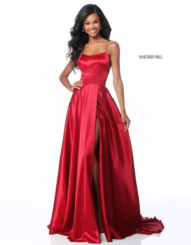 Sherri Hill 51631 Satin High Slit Sexy Back Dress